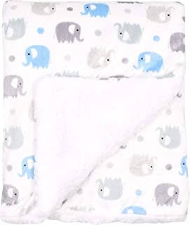 Large Ultra Soft Gray and Blue Elephant Minky Baby Blanket for Boys by Everyday Kids; Mink and Sherpa Toddler and Baby Boy...