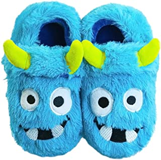 LA PLAGE Boy's Monster Slippers Toddler Boys House Cartoon Warm Soft Bedroom Slippers