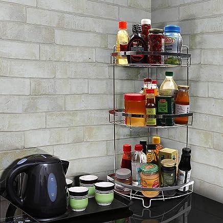 Kurtzy Chrome Plated Standing Corner Storage Rack Multipurpose Shelf, Silver