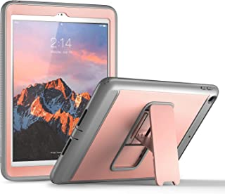 YOUMAKER Case for New iPad 9.7 2018/2017, Heavy Duty Kickstand with Built-in Screen Protector Full-Body Shockproof Protective Case Cover for Apple iPad 9.7 inch 2017/2018 5th/6th Gen (Rose Gold/Gray)
