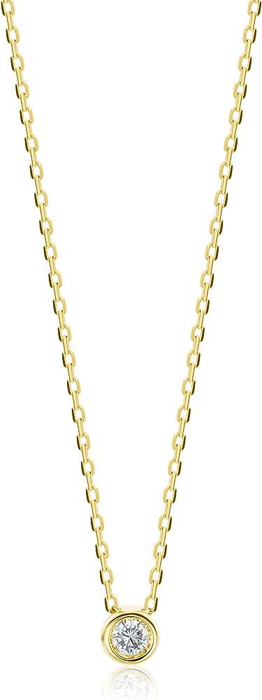 Orovi,collana per donna,in oro giallo 9 kt(0,9 gr)con pendente diamante solitario,0.04 carati OR72052N