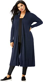 Women's Plus Size Fine Gauge Duster Cardigan with Shawl Collar