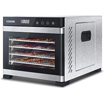 COSORI Food Dehydrator Machine, Stainless Steel Digital Food Dryer with Recipe Book,Countdown Timer for Beef,Jerky,Fruit,Vegetable & Herb,with Mesh Screen & Fruit Roll Sheet,ETL & FDA,2 Year