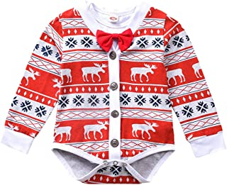 Preemie Newborn Baby Boys Christmas-Bodysuit-Romper-Clothes-Outfits-Set