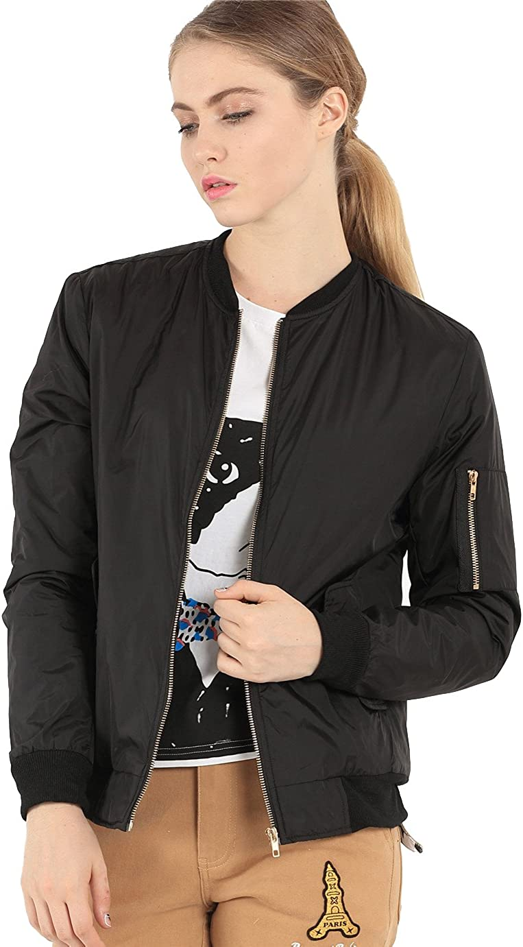 Women's Classic Short Padded Bomber Jacket Quilted Jacket
