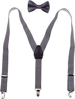 BODY STRENTH Mens Boys Suspenders and Bow Tie Set Adjustable Elastic