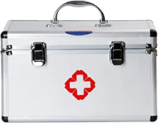 Family Medicine Cabinets, Petforu Aluminium Alloy First Aid Kit Carrying Case EMPTY Box for Pills Bottles Storage (16-Inch)
