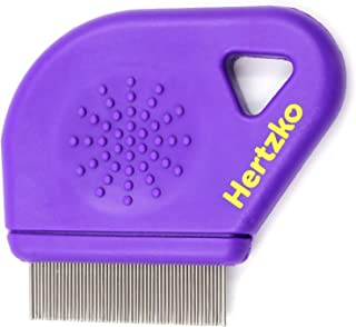 Hertzko Flea Comb Closely Spaced Metal Pins Removes Fleas, Flea Eggs, and Debris from Your Pet's Coat - 10mm Metal Teeth a...