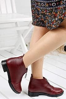 Ayakland 198-04 Günlük 3 Cm Topuk Bayan Cilt Krok Bot Ayakkabı BORDO
