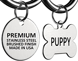 Dr. Fremont's Premium Stainless Steel Pet ID Tag Dog and Cat Personalized | Made in USA, Brushed Stainless Steel