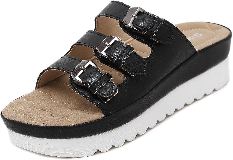 DQQ Women's 3 Buckle Straps Platform Sandal