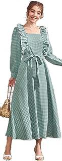 فستان جينجهام مكشكش بحزام للخصر - اخضر