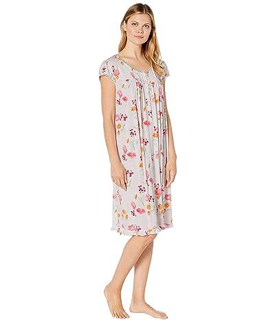 Eileen West Modal Spandex Knit Short Sleeve Waltz Nightgown (White Ground Multi Floral) Women