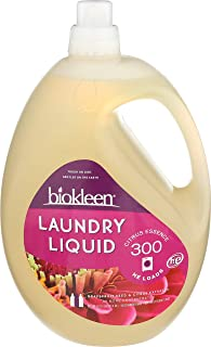 Biokleen Laundry Detergent Liquid, Concentrated, Eco-Friendly, Non-Toxic, Plant-Based, No Artificial Fragrance, Colors or Preservatives, Citrus Essence, 150 Ounces - 300 HE Loads/150 Standard Loads