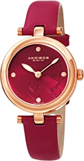 Akribos XXIV Women's Diamond Accented Heart Engraved Dial Magenta Leather Strap Watch - Packed in a Beautiful Gift Box - AK1044PK