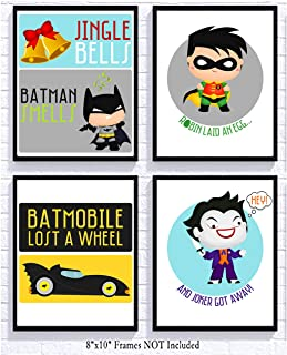 Silly Goose Gifts Jingle Bells Batman Smells Funny Wall Art Prints (Set of Four) 8x10in Christmas Signs Decoration Decor