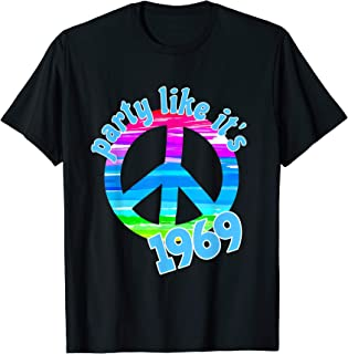 Party Like it's 1969 Vintage Retro Style Peace Sign Rainbow T-Shirt