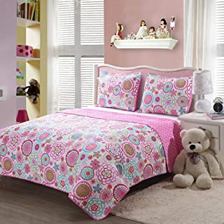 Caramel Macchiato 2PC Pink Floral Quilt Sets Reversible Polka Dot Little Girl Bed, Twin Size