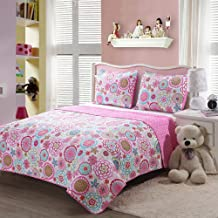Caramel Macchiato 3PC Pink Floral Quilt Sets Reversible Polka Dot Little Girl Bed, Queen/Full Size