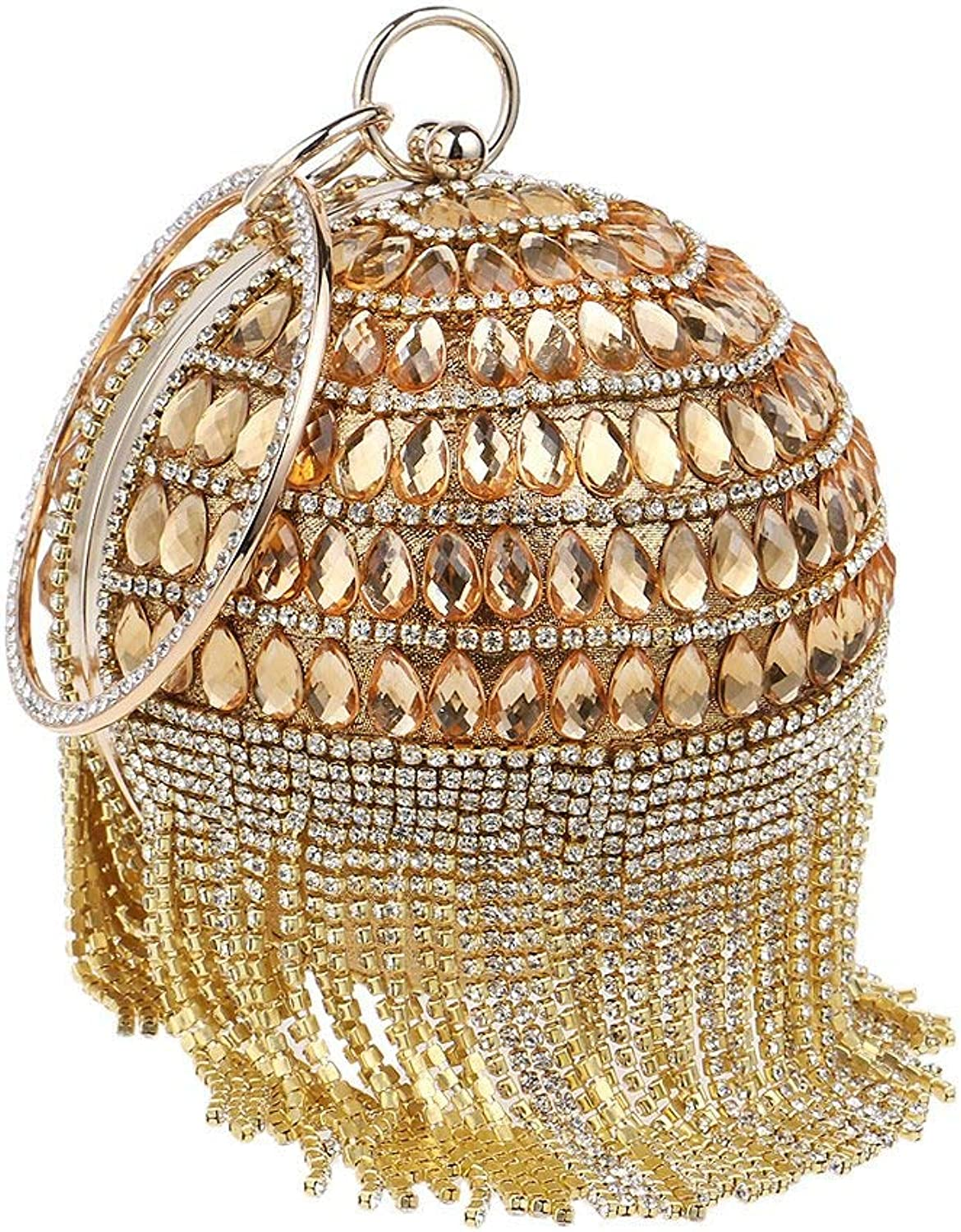 AKEY Clutch Bag Ladies Round Ball Clutch Bag Tassel Diamond Dress Evening Bag Metal Ring Wristlet Handbag Purse Evening Bag for Bridal (color   gold, Size   Diameter12.5cm)