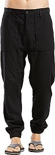 utcoco Men's Casual Side-Elastic Waist Tapered Flat-Front Linen Jogger Pants
