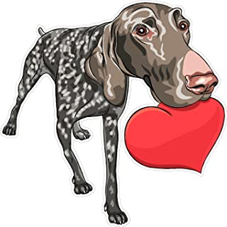 Dog German Shorthaired Pointer heart 5x5 inches man's best friend puppy animal america united states murica color sticker state decal die cut vinyl - Made and Shipped in USA