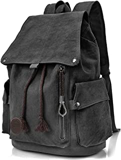 RERI Canvas Leinwand Rucksack Vintage für Outdoor Camping Außflug Sports Universität Rucksack Wanderrucksack Schultasche Schulrucksack Herren Damen Mädchen Jungen Teenager Rucksäcke schwarz