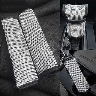 ZB Bling Bling Crystal Rhinestone Diamond Seat Belt Cover & Handbrake Cover & Shift Gear Knob Cover, for Girls or Women (4 pcs in 1 Set)