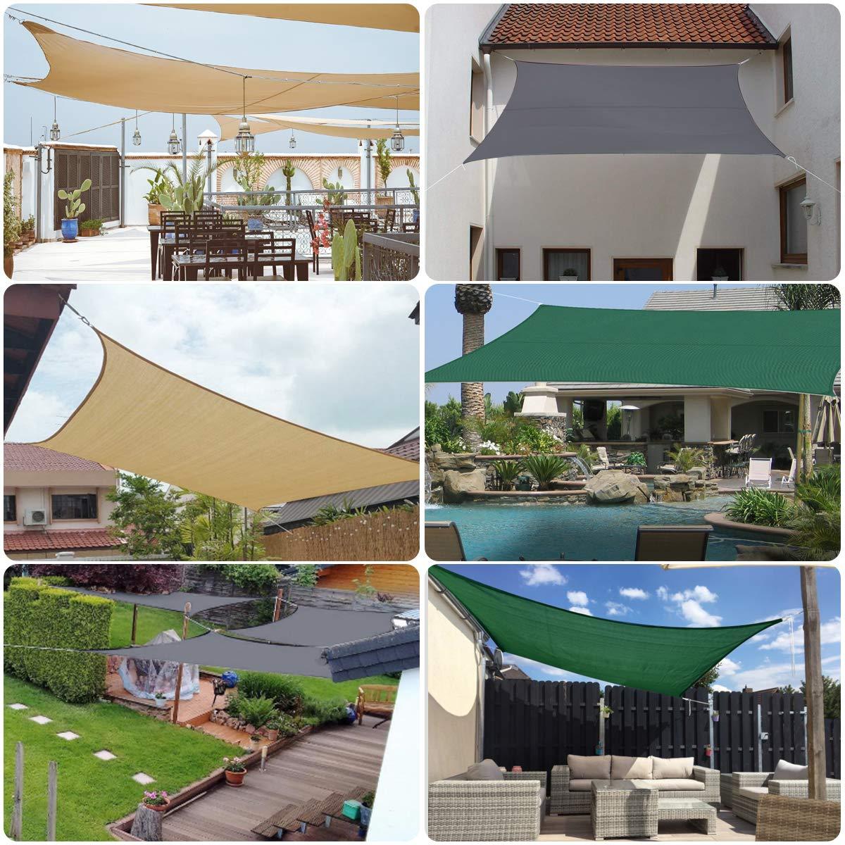 Sekey Toldo Vela de Sombra Rectangular HDPE Protección Rayos UV Resistente Permeable Transpirable para Patio, Exteriores, Jardín, con Cuerda Libre y Kit de Montaje, 3×4m Verde: Amazon.es: Jardín