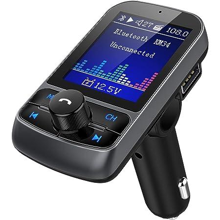 Nulaxy Fm Transmitter Radio Adapter 1 8 Inch Colour Screen Car Battery Reading Handsfree Calls Usb Drive Tf Card Aux Eq Mode Km34 Auto