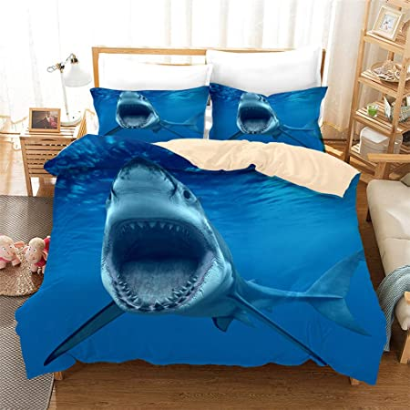 Shark Fish Print Kids Duvet Cover Set Queen Bedding Cover Set Boys Girls Duvet Comforter Cover Set Luxury Soft Queen Duvet Cover Set for Children Teens