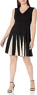 فستان حريمي من Sandra Darren مصنوع من قماش الكريب وبكتف ممتد قطعة واحدة