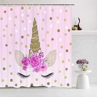 Romeooera Unicorn ShowerCurtains, Cute Pink Floral Unicorn Magic Head Twinkle Star Shower Curtain, Mildewproof Waterproof Unicorn Curtains with Hooks for Bathroom Window Decor