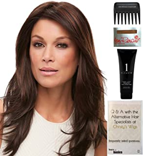 Bundle - 5 items: Jon Renau Alessandra Wig, Christy's Wigs Q & A Booklet, Wig Shampoo, Wig Cap & Wide Tooth Comb COLOR: FS4/33/30A