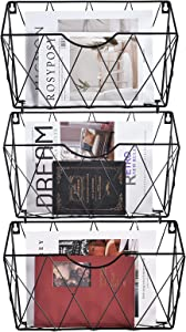 Hanging Wall File Organizer Set of 3, Wall Organizer for Office, Home or School, Metal Wall Hanging Baskets with 12 Pcs S Hooks, Black
