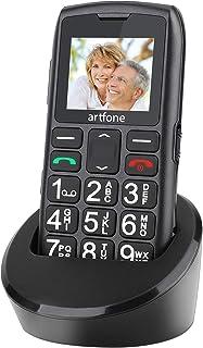 Teléfono Móvil para Personas Mayores Teclas Grandespara Mayores, Artfone C1 con SOS Botón, 1.77 Pulgadas, con una Base de Carga, Fácil de Usar para Ancianos, Negro
