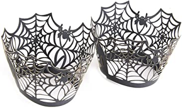 BESTONZON 50pcs Halloween Cupcake Wrappers/Cup Wraps Spiderweb Shape for Halloween Party Birthday Decoration (Black)