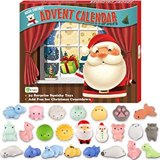 D-FantiX Mochi Squishy Toys Advent Calendar 2019 Christmas Countdown Calendar Gift 24Pcs Kawaii Squishies Animals Relief Stress Toys Unicorn Dinosaur Santas Squeeze Toy for Girls Boys Kids Adults