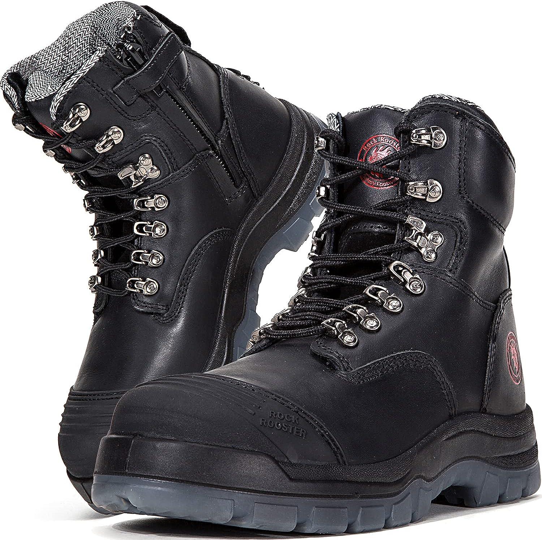 Sale item ROCKROOSTER Work San Jose Mall Boots for Men 8 Zipper Slip Side Toe Steel inch