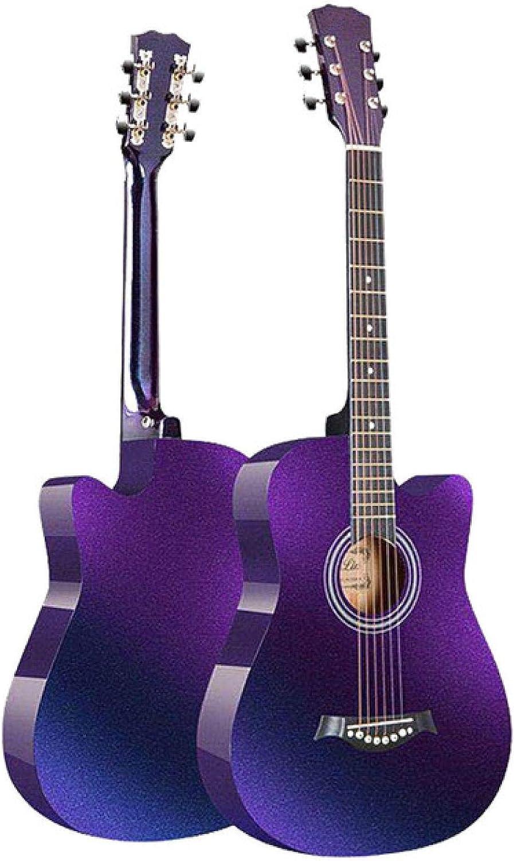KEPOHK 38 pulgadas Guitarra 6 cuerdas Folk Acústico Gradiente Tilo Guitarra Principiante Estudiante Adulto Primeros pasos Práctica 38 pulgadas Gradiente púrpura