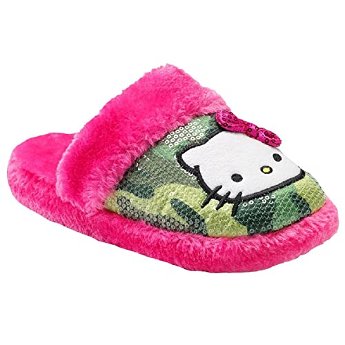 c1a5801c8 Hello Kitty Womens Plush Green Camo Sequin & Pink Faux Fur Warm Cozy  Slippers Medium 7