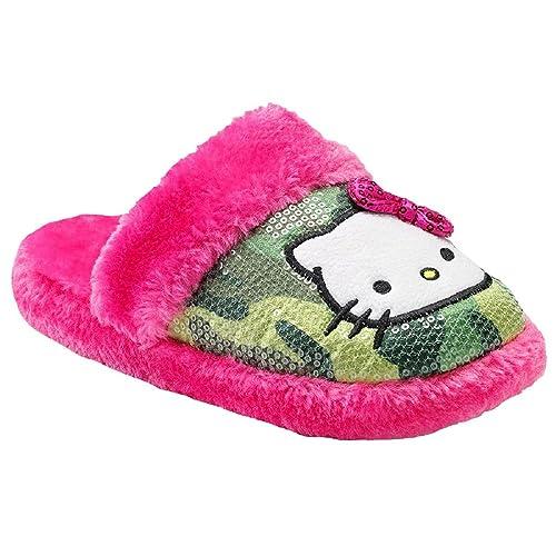 88d6f0021916 Hello Kitty Womens Plush Green Camo Sequin & Pink Faux Fur Warm Cozy  Slippers Medium 7