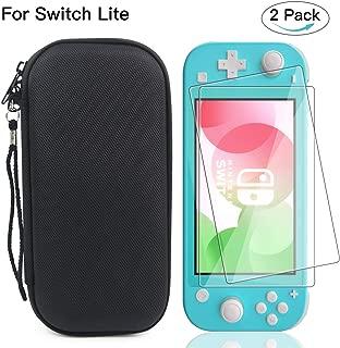 Nintendo Switch lite ケース+ Switch Lite ガラスフィルム(2枚セット) Nintendo switch lite カバー ニンテンドースイッチライト収納バッグ スタンド機能付き 防塵 防水 耐衝撃 小物収納 軽量 持ち運び便利 全面保護カバー(ブラック)