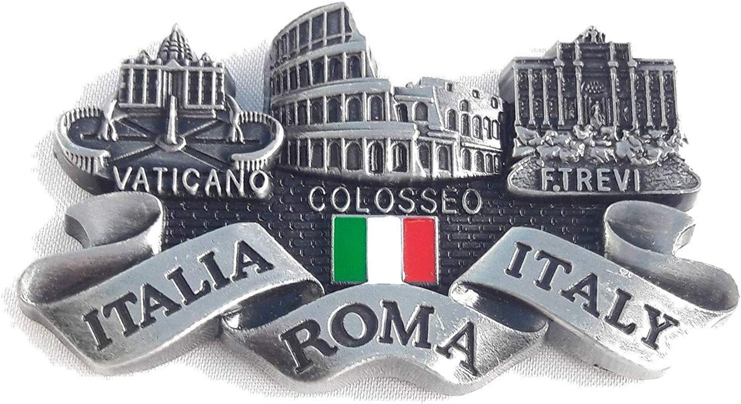 New Gray Fridge Metal Magnet Italy Rome Vatican Colosseum Trevi Fountain Italia