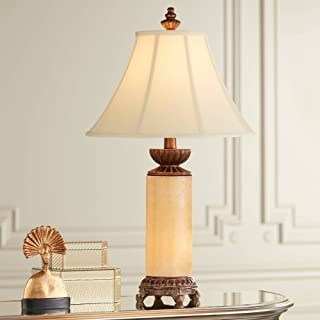 Traditional Table Lamp with Nightlight Bronze Onyx Column Off White Bell Shade for Living Room Family Bedroom - Barnes and Ivy