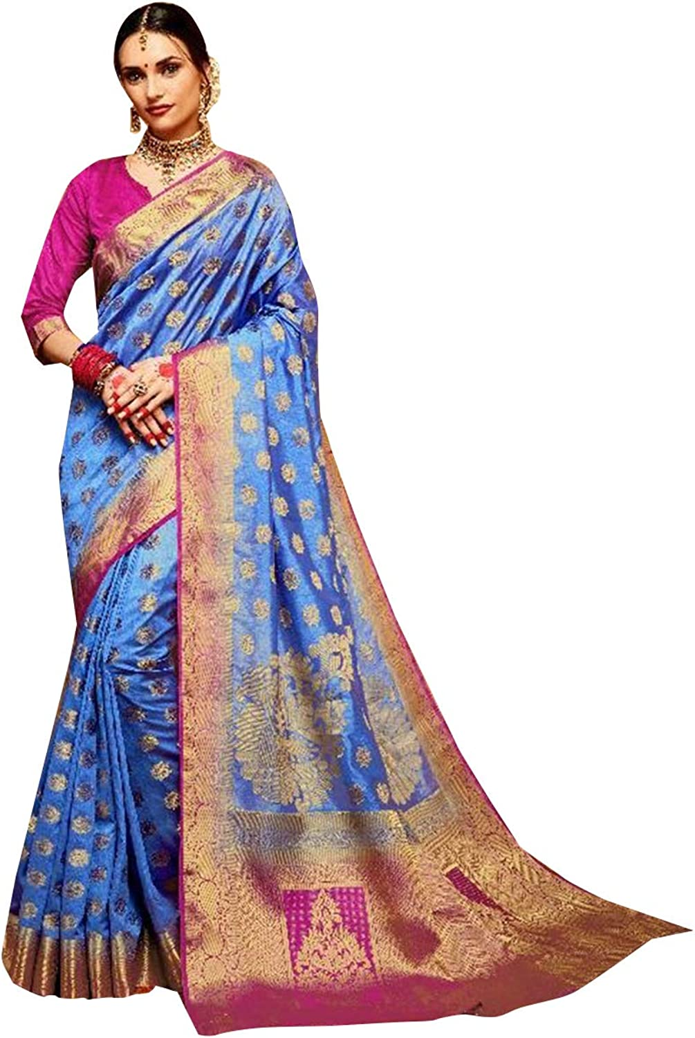 bluee Ready to wear Festive Designer Kamalkari Silk Sari with Stitched Blouse for Women Indian Ethnic Saree 7633
