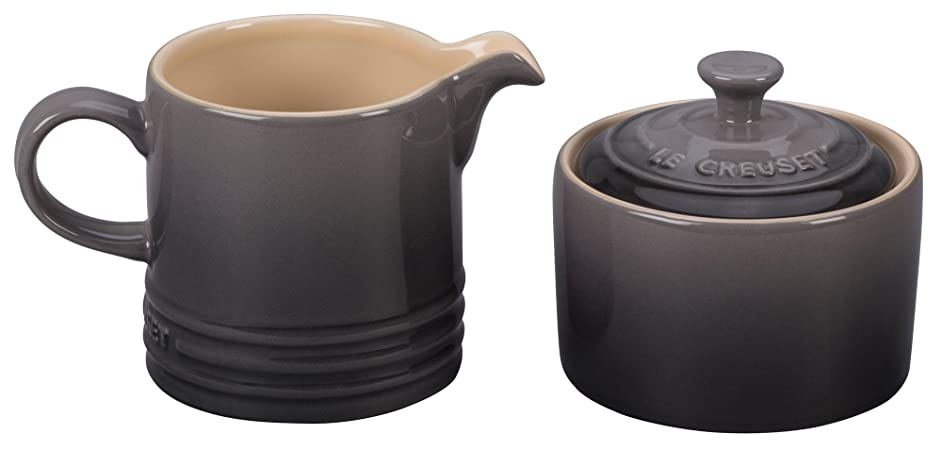Le Creuset of America PG8005-107F Le Creuset Stoneware Cream and Sugar Set - Oyster,