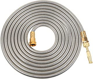 VERAGREEN Stainless Steel Metal Garden Hose 304 Stainless Steel Water Hose with Solid Metal Fittings and Newest Spray Nozzle, Lightweight, Kink Free, Durable and Easy to Store(50FT)