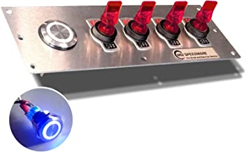 MGI SpeedWare 4 Gang Ignition Panel, 12vDC Blue LED Push Button, Lighted Duckbill Switches (Red)