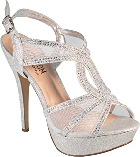 fa8e3a59205 Vice-254 Women s High Heel Rhinestone Strappy Formal Occasion Wedding Prom  Dress Sandal Shoes